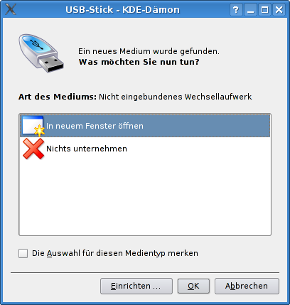 Screenshot showing the KDE media popup when plugging in a USB stick