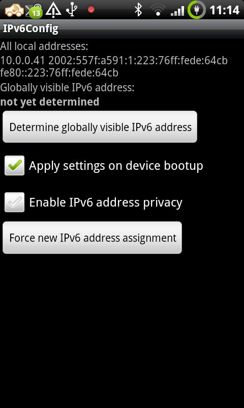 Android-IPv6Config after startup