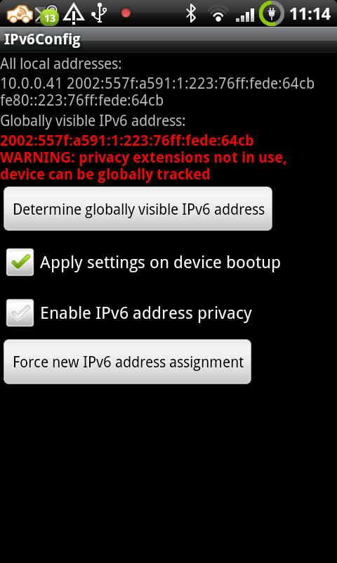 IPv6Config after fetching global IPv6 address without privacy extensions enabled